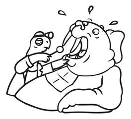 Zahnarzt Schildkröte untersucht Walross Patient