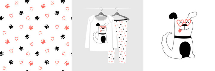 Wall Mural - Seamless pattern and illustration for kid with dog and paw. Cute design pajamas on hanger. Baby background for clothes, room birthday decor, t-shirt print, wear fashion, invitation card, wrapping