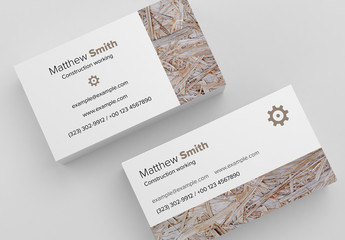 Business Card Layout with Photo of Wood