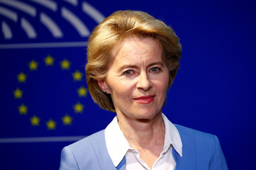 German Defense Minister von der Leyen briefs the media at the EU Parliament in Brussels