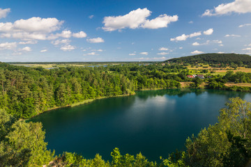 Turquoise lake in Wolinski National Park, Wapnica, Poland