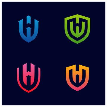 Set of HW Shield Logo Design Vector. Initial HW logo Template. Shield WH logo concept. Icon Symbol