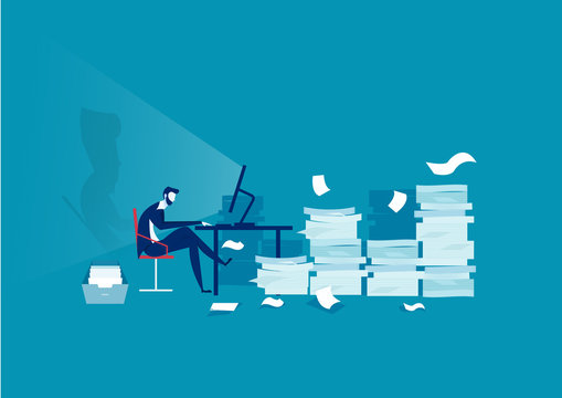 businessman hard working on many paper background with low battery illustrator