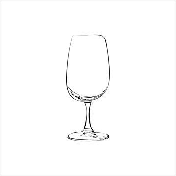 Wine Glass Hand Drawn, Wineglass, Glassware Freehand Drawing