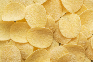 Potato chips. Concept of fast food and snacks.