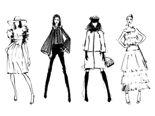 Fashion models silhouettes sketch hand drawn , vector illustration. Elegance. Monochrome. Girl in the dress