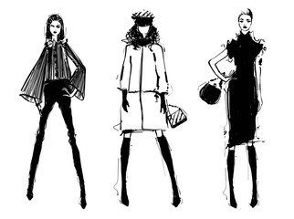Fashion models silhouettes sketch hand drawn , vector illustration. Elegance. Monochrome. Girl in the black dress