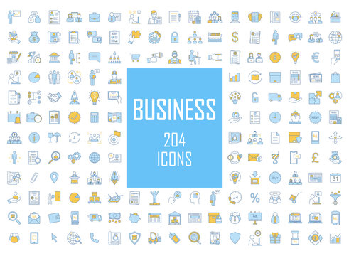 Business industry development color icons big set. Financing and budget, money planning. Business analytics, statistics. Delivery, logistics and distribution. Isolated vector illustrations