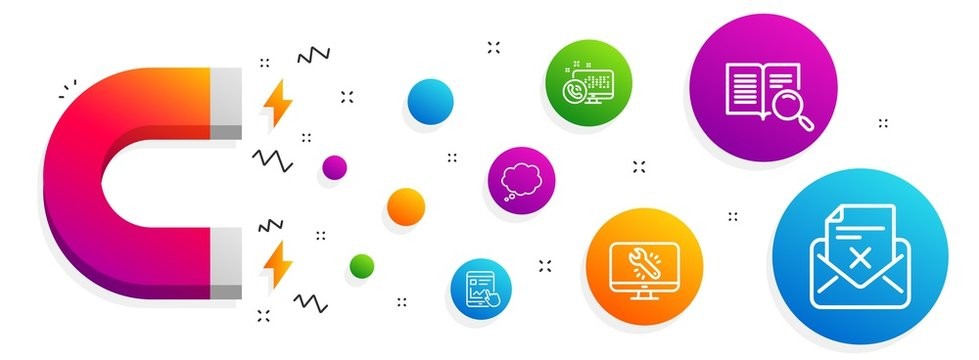 Magnet attracting. Web call, Comic message and Internet report icons simple set. Search text, Monitor repair and Reject letter signs. Phone support, Speech bubble. Technology set. Vector