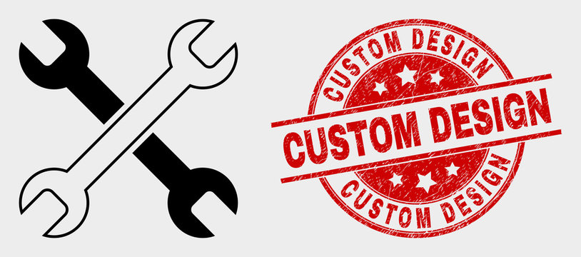 Vector wrenches icon and Custom Design seal stamp. Red rounded textured seal stamp with Custom Design caption. Vector combination for wrenches in flat style. Black isolated wrenches symbol.