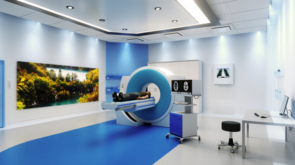 MRI Scanner Room With Patient