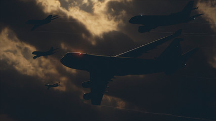 Many Airliners In Front Of A Dark Sky