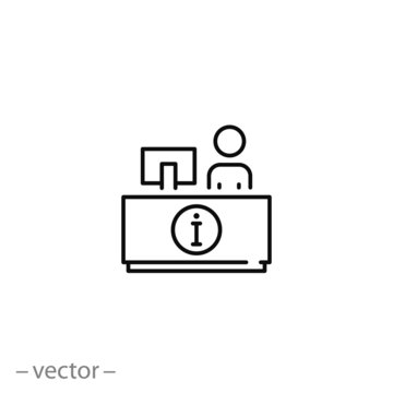 reception desk icon, customer service, counter, thin line symbol for web and mobile phone on white background - editable stroke vector illustration eps10
