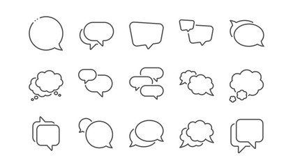 Speech bubbles line icons. Social media message, comic bubbles and chat. Think sticker, Comment speech and talk bubble icons. Linear set. Vector