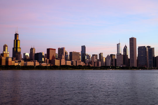Chicago downtown skyline Cityscape from Lake Michigan