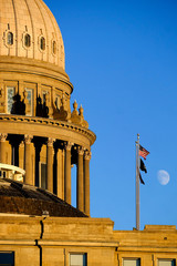 Idaho State Capitol Building Government Dome Laws Legal Moon Sky Flags