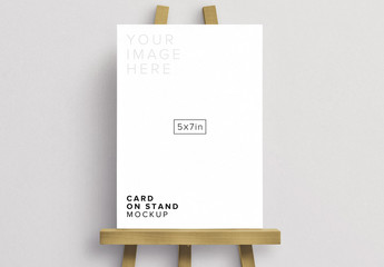 Card on a White Stand Mockup