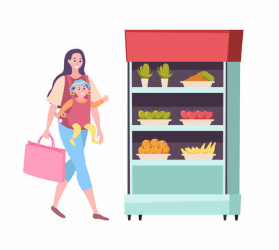 Woman with baby walking to fridge vector, supermarket shopping mother with kid. Lady carrying bag looking at vegetables and fruits in refrigerator