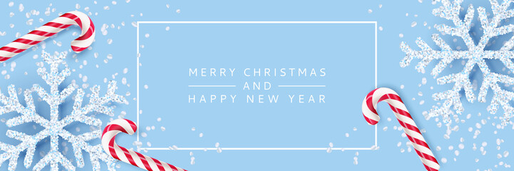 Merry Christmas, Happy New Year banner, poster background. Vector 3d realistic illustration of snowflakes, striped candy