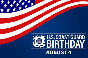 United States Coast Guard birthday. August 4. Design with american flag and patriotic stars. Poster, card, banner, background design.  Wall mural