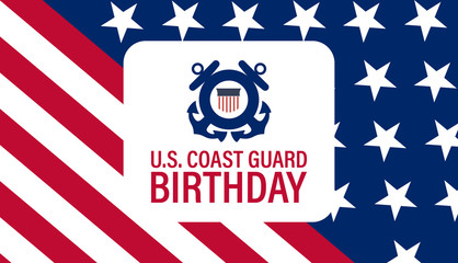 United States Coast Guard birthday. August 4. Design with american flag and patriotic stars. Poster, card, banner, background design.