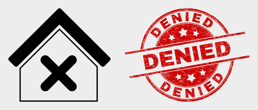 Vector closed house icon and Denied seal stamp. Red rounded textured seal stamp with Denied caption. Vector combination for closed house in flat style. Black isolated closed house icon.