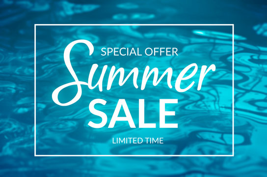 Summer sale banner with blue water background