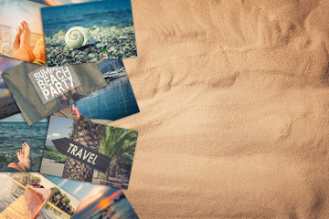 Travel photo collage on sand background