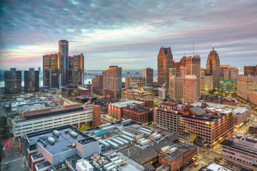 Fototapete - Detroit, Michigan, USA downtown