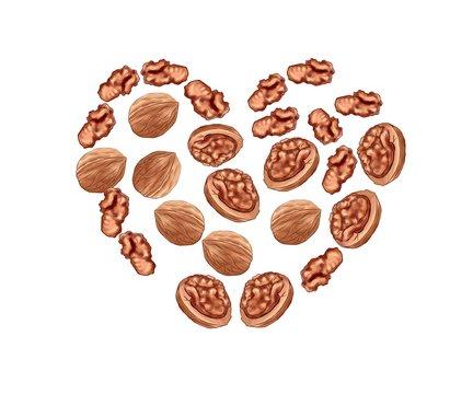 walnut heart shape
