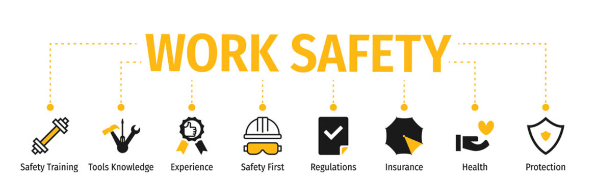 Banner Work Safety with icon