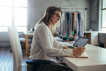 Woman taking online order