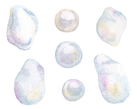 Watercolor hand drawn realistic pearls set isolated  on white background. Jewelry baroque gemstone