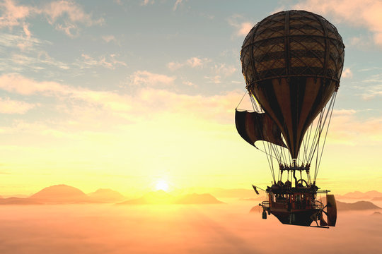 hot air balloon going to the sun