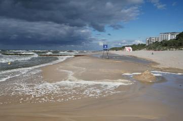 Morze plaża sztormowa - Dziwnówek Dziwnowo