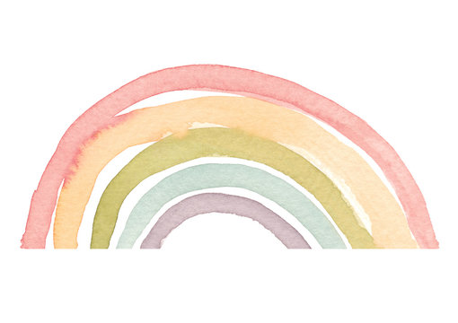 Watercolor hand drawn abstract rainbow in warm colors palette isolated on white background