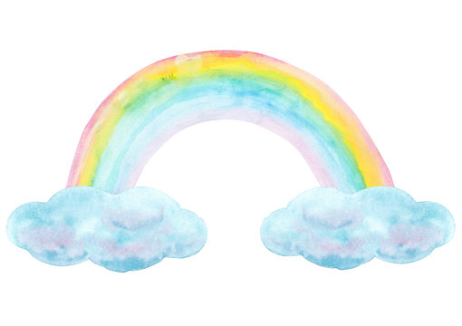 Watercolor hand drawn rainbow and clouds isolated on white background