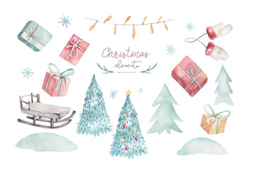 Wall Mural - Merry Christmas watercolor set with floral elements. Happy New Year gift boxes, snowflakes, berries and christmas tree. Winter flowers, gift slad and branch bouquets decoration.