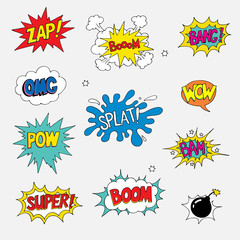 Comic sound effect, Collection of Comic Style speach bubbles