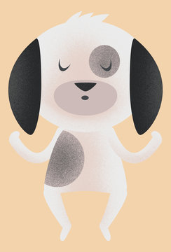 Texture illustration of a cute dog meditating with eyes closed