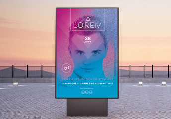 Disco Poster and Flyer Layouts with Blue and Purple Gradient