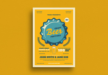 Craft Beer Festival Flyer Layout with Graphic Elements