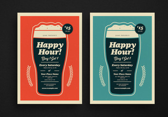 Happy Hour Beer Flyer Layout with Graphic Elements