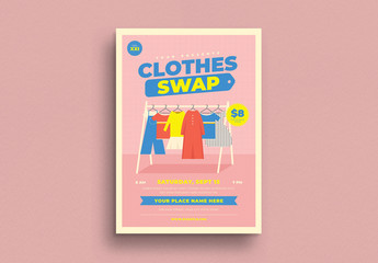 Clothing Event Flyer Layout with Graphic Elements