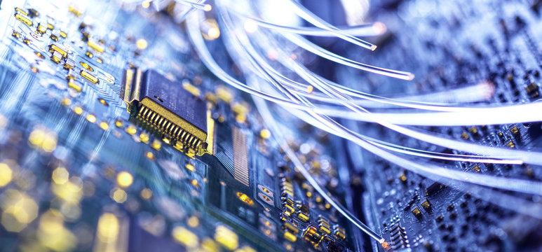 Fiber optics carrying data to computer hardware
