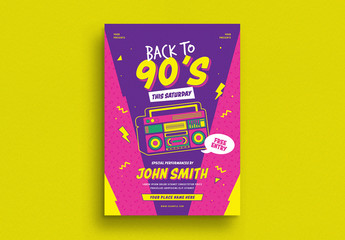 Retro Music Event Flyer Layout with Graphic Elements