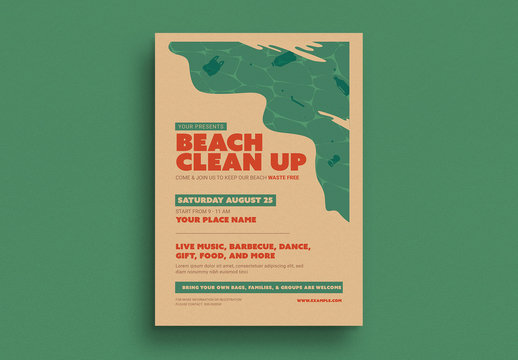 Beach Clean Up Event Flyer Layout with Graphic Elements