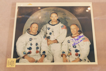 """A signed photograph of the Apollo 11 astronauts is displayed as part of Christie's upcoming """"One Giant Leap: Celebrating Space Exploration 50 Years After Apollo 11"""" auction in New York"""