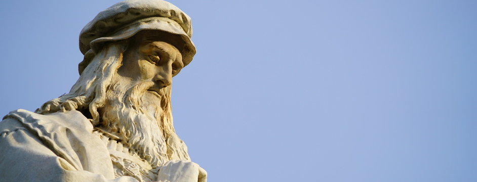 Head of the Leonardo da Vinci statue in Milan