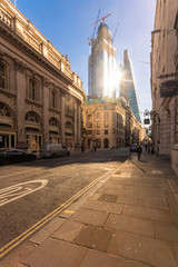 UK, London, Liverpool Street, financial district with the Shard in the background